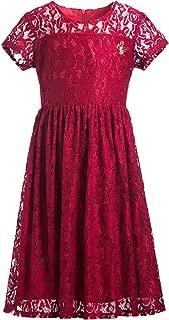 Áo quần dành cho bé gái – Girls' Short Sleeve Stretch Full Lace Party Dress with Butterfly Embellishment