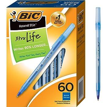 BIC 丸型 スティック 長寿命 ボールペン ミディアムポイント 60 Count