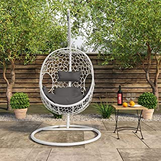 Wicker Hanging Egg Chair for Indoor and Outdoor Use w/Seat & Back Cushion, White