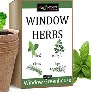 Maui Mike's Window Herb Indoor Growing Kit. Includes Soil Pellets, Seeds, Peat Pots, Greenhouses and Instructions. Grow Yo...