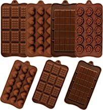 SiliQueen 7 Pieces Silicone Chocolate Molds, Candy Baking Mold Ice Cube Trays Candies Making Supplies for Chocolates Hard ...