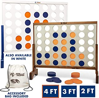 Giant 4 in A Row, 4 to Score - Premium Wooden Four Connect Game Set in 4' Wood Grain by Rally & Roar - Oversized Family Outdoor Party Games for Backyard, Lawn, Parties, Bar Game