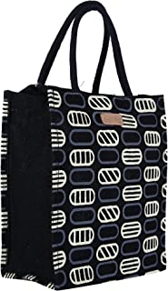 Ecotara Premium Quality Eco Friendly Jute Lunch Bag for Men & Women with Bottle Holder - Black