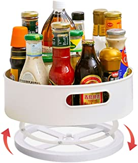 Soporte para Especias Lazy Susan Organizador Giratorio Armarios Cocina Plato Giratorio de Plástico para CondimentosBlanco