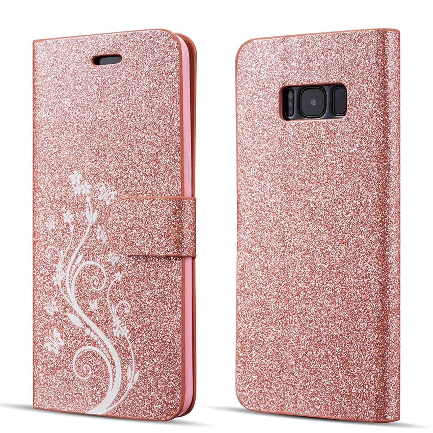 UEEBAI Case for Samsung Galaxy Note 8,Luxury Bling Glitter Case with [Magnetic Closure] [Card Slots] [Kickstand] PU Leather Flip Cover with Elegant Flower Patterns Printing for Galaxy Note 8-Rose gold bbfhxsdetiw642