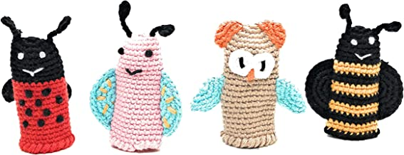 Cuddoll Finger Puppets   Puppet Set  100% Organic Cotton Yarn   100% Hand Knitted Handmade   Without Any Harmful and Detachable Parts   Made in Turkey by Moms with Love (The Flutterers)