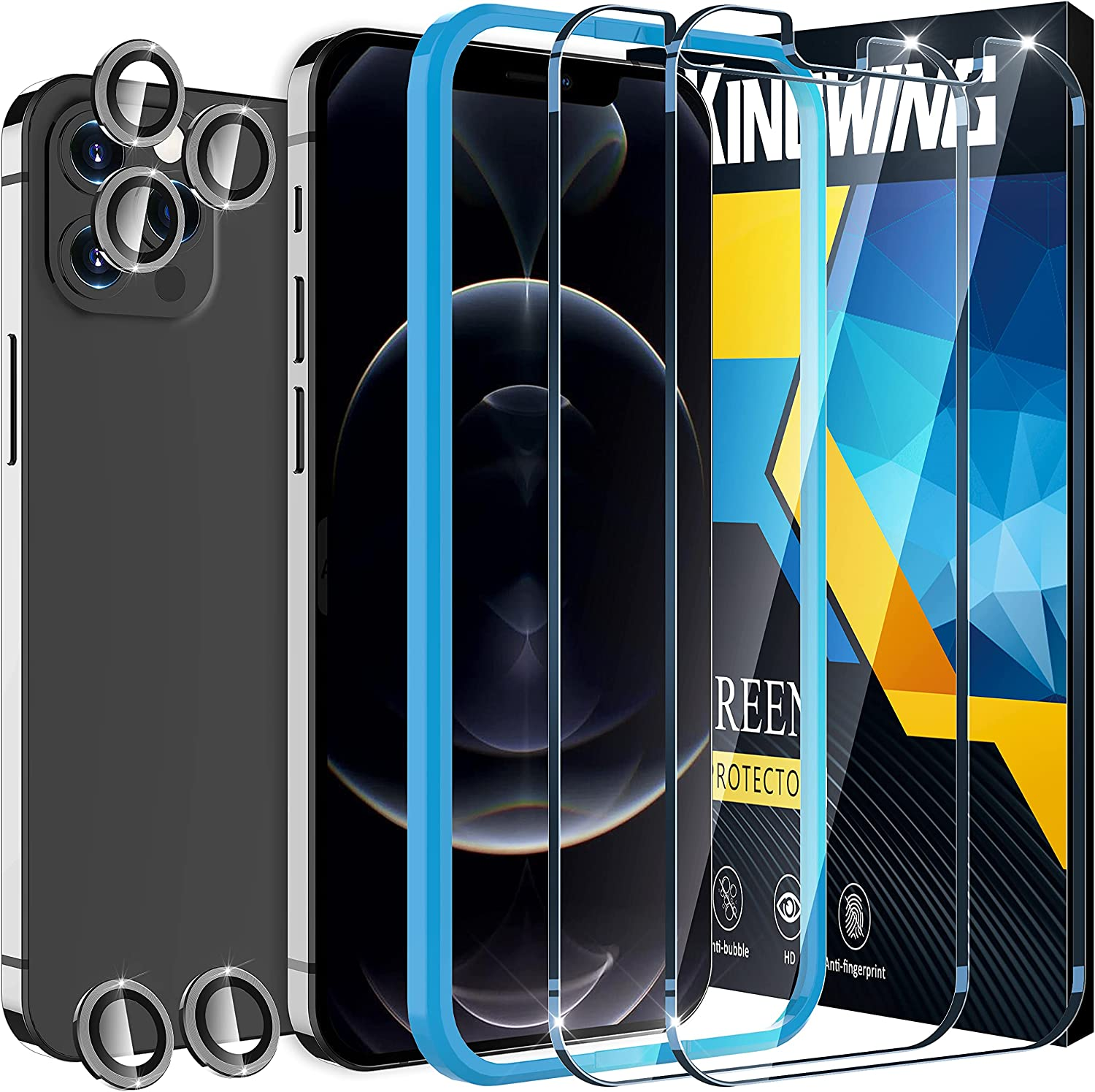 [2+5 Pack ] KINGWING Privacy Screen Protector Compatible with iPhone 12 Pro Max 5G (6.7 inch), 2 Pack Tempered Glass + 5 Pack Camera Lens Protector [Installation Frame] [U-Shaped Cutout] (Graphite)