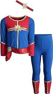 Spiderman and Captain America Girls' Costume Dress, Leggings and Headband Set