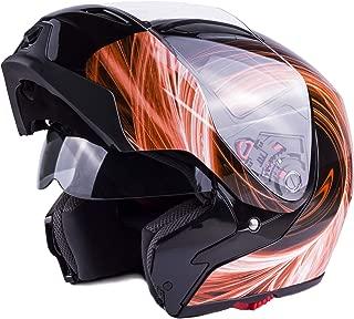Typhoon G339 Modular Motorcycle Helmet DOT Dual Visor Full Face Flip-up - Orange XL