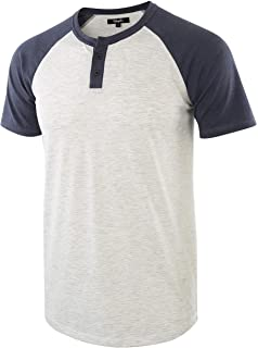 Estepoba Men's Casual Vintage Short Raglan Sleeve Baseball Henley Jersey Shirts