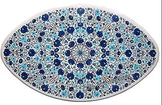 Gifts And Artefacts Table de salle à manger avec incrustation de pierres semi-précieuses en lapis lazuli 30 x 48 cm