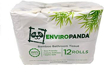 EnviroPanda 100% Natural Bamboo Toilet Paper 12 Pack - 3 Ply Double Roll Luxury Product – Environmentally-Friendly & Septi...