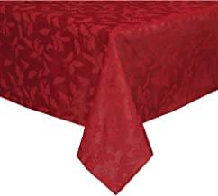 Lenox Holly Damask Tablecloth, 60 by 104-Inch Oblong/Rectangle, Red