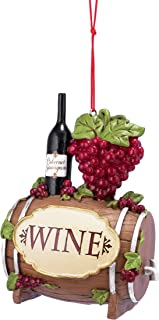 JWM Collection Wine Barrel 3.5 Inch Resin Christmas Ornament
