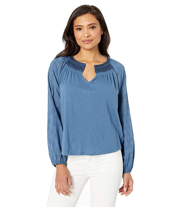 Lucky Brand  Embroidered Peasant Top (Blue) Womens T Shirt
