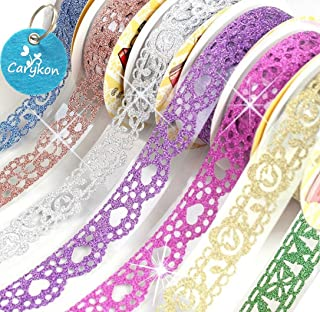 Carykon 7 Rolls Self Adhesive Bling Glitter Lace Tape Masking DIY Scrapbooking Phone Decorating Bud Silk Staionery Stickers