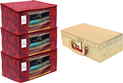Kuber Industries Wooden Two Rod Bangle Storage Box (Gold) -CTKTC8692 & Metalic Flower 3 Piece Non Woven Saree Cover, Large, Red Combo