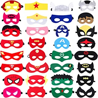 Superhero Party Masks,32 Piece Felt Mask Superheroes Birthday Party Supplies Cosplay Toy for Children/Kids/Adults (32 Pack)