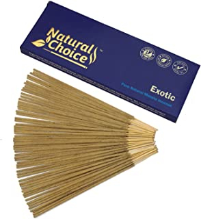 Natural Choice Incense Exotic Incense Sticks 100 Grams, Low Smoke Traditional Incense Sticks Made from Scratch, Never Dipped