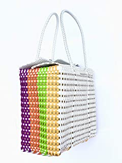Colorful Handwoven 100% Authentic Mexican Basket Bag, Size Large