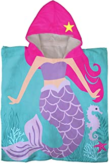 Trend Collector Mermaid Kids Bath/Pool/Beach Hooded Poncho Towel - Super Soft & Absorbent Cotton Towel - Measures 22 x 22 ...