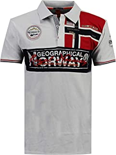 Geographical Norway Kidney - Polo Algodón con Logo para Hombre - Camisa Fit Comodidad - Camiseta Bordado Transpirable Mang...