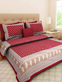 JAIPUR PRINTS 100% Cotton Comfort King Size Tradition Double bedsheet for King Size Bed Offer with 2 Pillow Cover