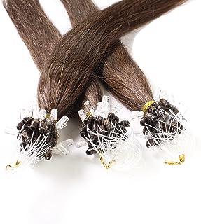 Hair2Heart 25 x 0.5g Extensiones de Micro Ring Pelo Natural - 50cm - Liso, Color  4 Marrón