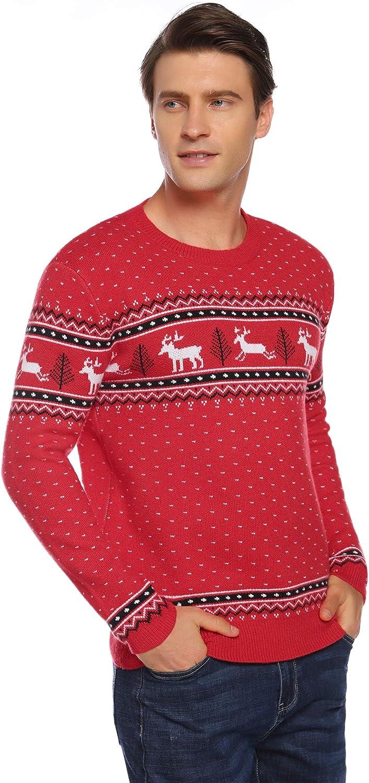 Abollria Su/éteres Navide/ños Jersey de Navidad Cuello Redondo Pullover de Punto Invierno para Mujer Hombre Nina Ni/ño Familia