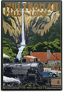 Lantern Press Multnomah Falls - Train and Cars (12x18 Aluminum Wall Sign, Wall Decor Ready to Hang)