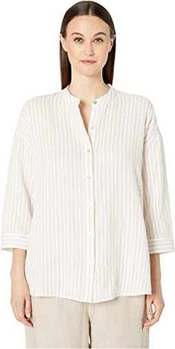 Organic Cotton Gauze Mandarin Collar 3/4 Sleeve Boxy Shirt