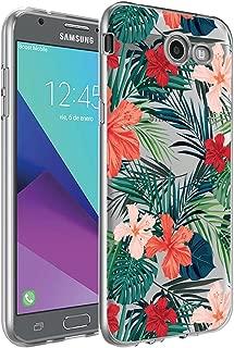 BAISRKE Galaxy J7 V Case,Galaxy J7 Prime Case, Slim Shockproof Clear Floral Pattern Soft Flexible TPU Back Cove for Galaxy J7 V / J7 2017 / J7 Prime / J7 Perx / J7 Sky Pro/Galaxy Halo [Palm]