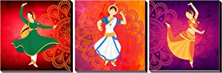 Poylaamo, Set of 3 Indian Classical Dance Wall Painting Framed on MDF Board. Size 7.5X7.5 Inches each.