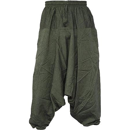 Gheri Men's Light Cotton Drop Crotch Ninja Aladdin Genie Harem Pants Trousers Green L/XL