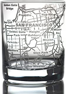 Greenline Goods Whiskey Glasses - 10 Oz Tumbler for San Francisco Lovers (Single Glass) | Etched with San Francisco Map | Old Fashioned Rocks Glass