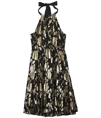 Milly Minis Metallic Floral Chiffon Tier Halter Dress (Big Kids) Girl