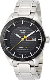 TISSOT MEN'S STEEL BRACELET & CASE AUTOMATIC BLACK DIAL WATCH T1004301105100
