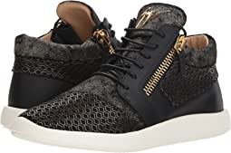 Singles Cupsole Mixed Texture Mid Top Sneaker