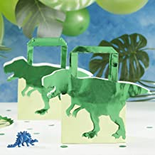 Ginger Ray Green Foiled Dinosaur Shaped Kids Boys Party Bags 5 Pack Roarsome
