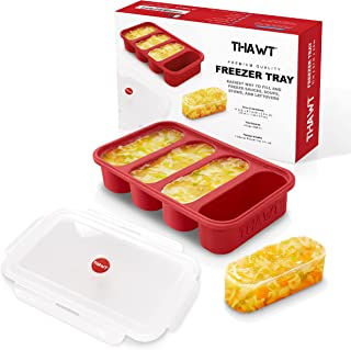 Thawt 1-Cup Extra-Large Silicone Freezing Tray w/Snap-on Lid - Food Storage Container Ice Cube Tray - Allows up to Four 1-...