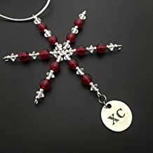 XC Ornament - Beaded Snowflake XC Cross Country Christmas Ornament/Gift Tag with Round Pewter XC Charm with Jewelry Box - Handmade with Red Vintage Beads