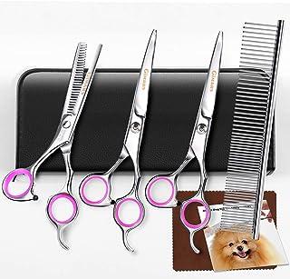 Gimars Titanium Coated 3CR Stainless Steel Dog Grooming Scissors Kit, Heavy Duty Pet..
