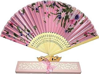 Titokiwi hochwertiger Handfächer Fächer für den Sommer Rosa, Türkis, Lila, Rot, Weiß und Schwarz Rosa