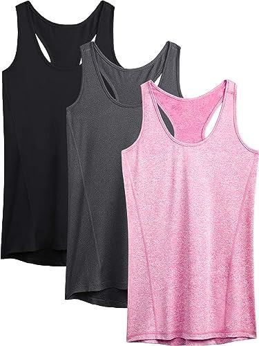 Neleus Workout Running Racerback Long Tank Top Yoga Shirt for Women