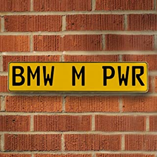 Vintage Parts 544027 BMW M PWR Yellow Stamped Street Sign Mancave Wall Art