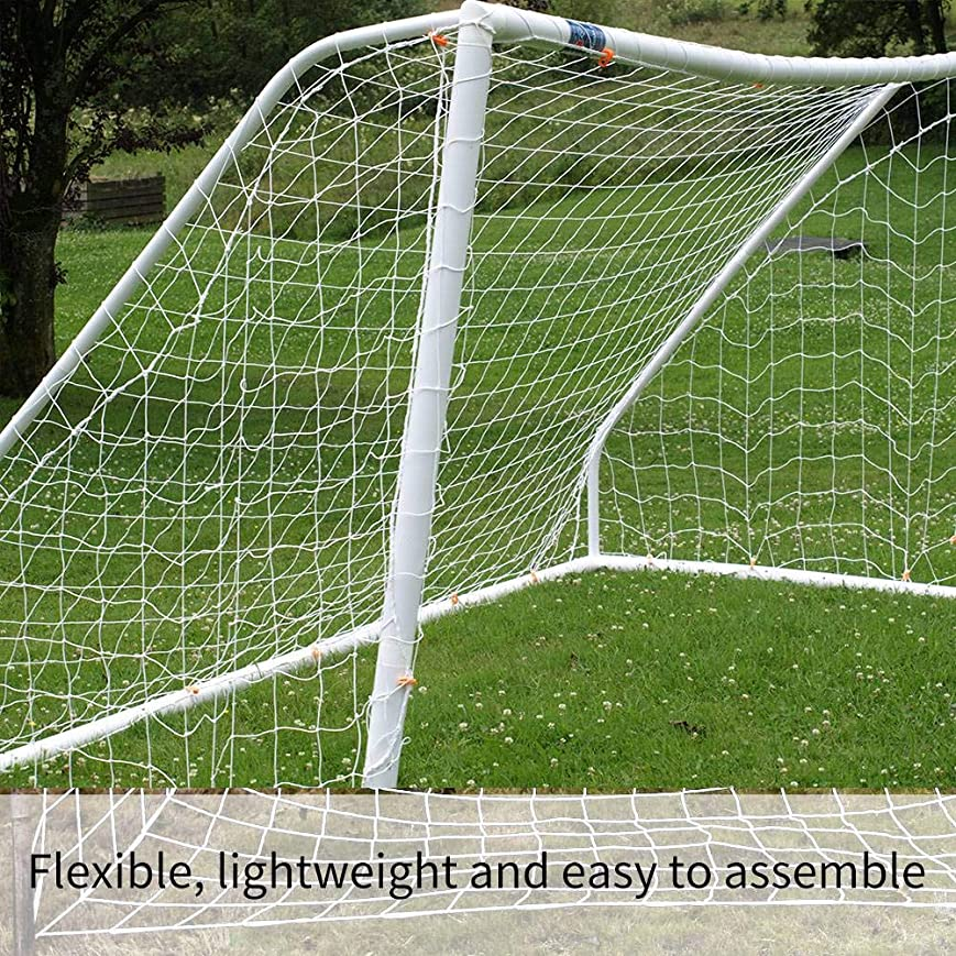 悲しいことに厚い実質的3 x 2m サッカー ゴールネット 交換用 ゴールネット サッカー練習 フットボールネット 耐久性 組立て簡単 練習用 娯楽用 トレーニングネット 白