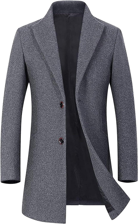 Men Winter Wool Blend Coat Men's Fashion Warm Thick Woolen Coat Slim Fit Solid Color Male Trench Coat