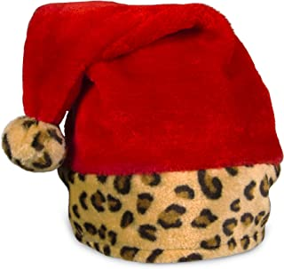 Plush Christmas Santa Hat with Leopard Print Trim