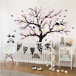 Sayala 3 Pandas Mignons Prune Rouge Fleur Stickers Muraux/Autocollant Arbre  Mural Pour Décorer Chambres