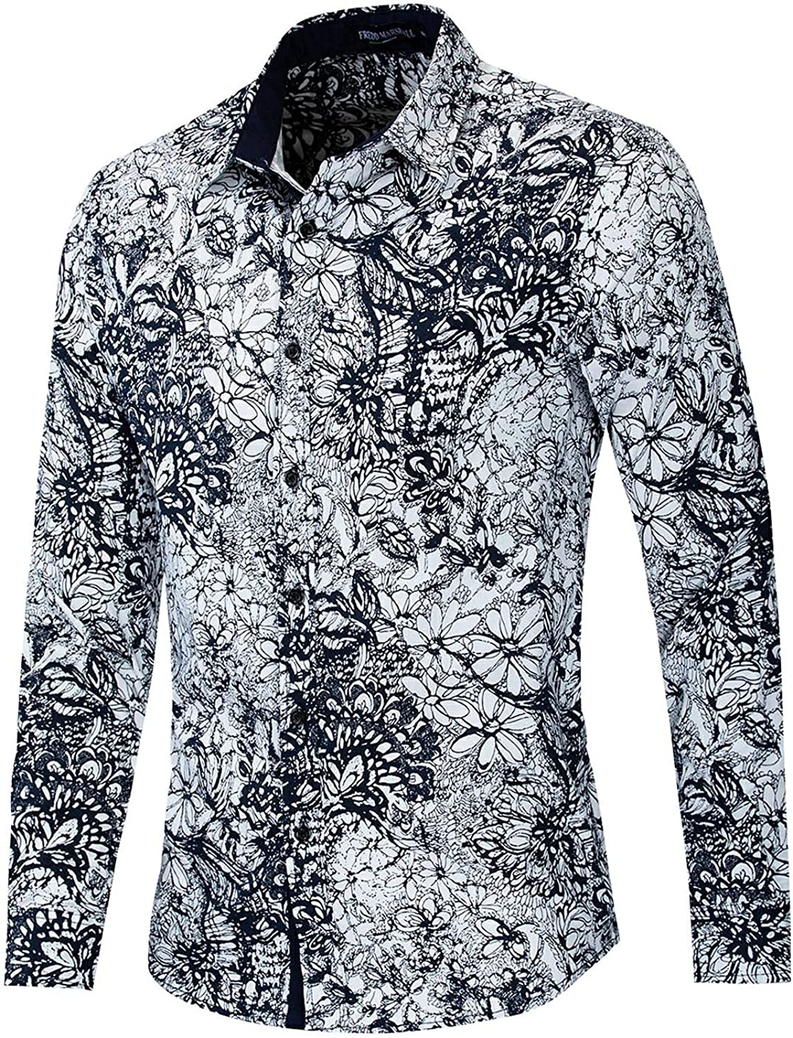 Men Floral Dress Shirts Casual Long Sleeve Button Down Flower Printed Shirts